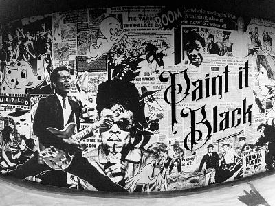 Paint It Black Mural grundge wheatpaste type paint collage