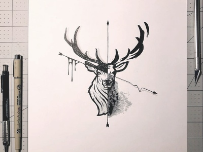 Ten Pointer Inking animal sketch deer inking illustration