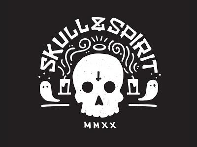 Skull & Spirit Mark brand logo vector design sketch illustration
