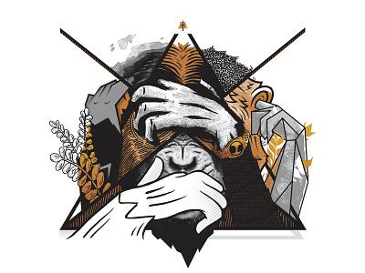 See No Evil animal sketch speaknoevil hearnoevil seenoevil ape monkey design digital collage illustration