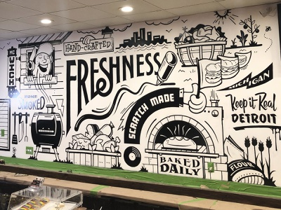MC-Wiches Mural 1 thumbnail sketch drawing large format wall art mural painting illustration