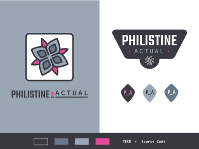 Philistine Actual medal grey pink elkweed flower logo design logomark blog industrial military logotype branding brand logo