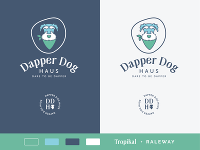 Dapper Dog Haus Brand etsy haus dapper bandana dog vector illustration charity logotype brand design branding logo