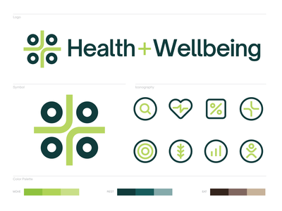 Health + Wellbeing Identity visual identity identity design identity symbol iconography icon icons design logo