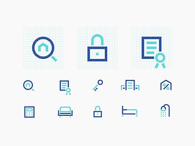 Real Estate Icons identity design real estate design brand design branding vector icons ui illustration