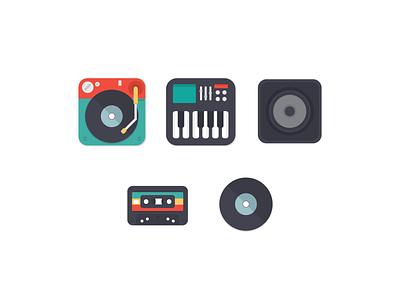 Music Icons audio disc vinyl sound music vector graphic icon icons illustration design