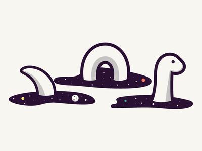 Space Nessie orlando caseyillustrates ness loch monster sea nessie ocean planets space