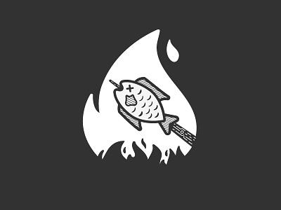 Roasted | Inktober 3/31 black and white vectober inktober food fire fish roast