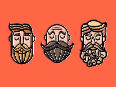 Movember Enamel Pins pin set pin enamel flat vector illustration orlando caseyillustrates no shave november beard mustache movember