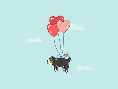 Obi's Gotcha Day! flying float dog puppy australian shepherd aussie gotcha day adoption day valentine heart balloons good boy obi vector illustration orlando caseyillustrates