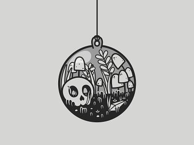 Ornament   Inktober 17/31 print mushroom garden skull terrarium christmas ornament inktober2019 caseyillustrates inktober vector illustration orlando