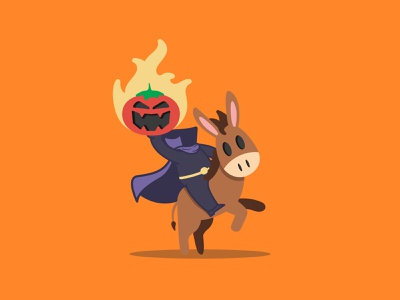 Headless Mule-Man print halloween jack o lantern horse horse back headless horse man mule tomato stickermule donkey vectober flat caseyillustrates inktober vector illustration orlando