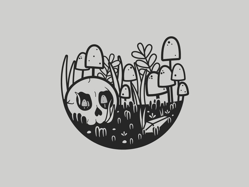Ancient | Inktober 23/31 mushroom plants terrarium ancient skull vectober flat caseyillustrates inktober vector illustration orlando