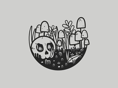 Ancient   Inktober 23/31 mushroom plants terrarium ancient skull vectober flat caseyillustrates inktober vector illustration orlando