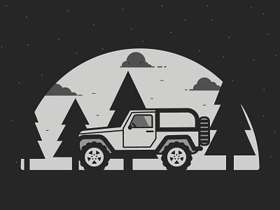 Ride   Inktober 28/31 print ride camping woods jeep flat caseyillustrates inktober vector illustration orlando
