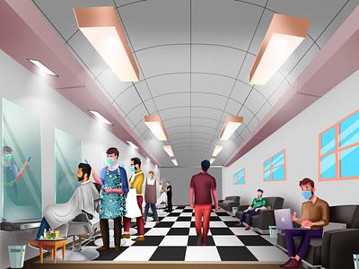 barber shop coronavirus covid 19 kultureshop vector talenthouseartist talenthouse artdirection illustration