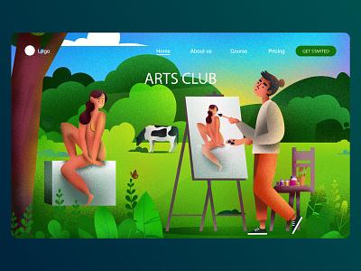 ARTS CLUB LANDING PAGE creative advertising dream illustrationartist vector talenthouseartist talenthouse artdirection illustration