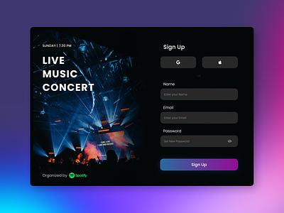 Daily UI 001 - Sign up dark theme dark ui dailyui dailyui 001 daily dark mode music concert music challenge web design login sign up signup ux