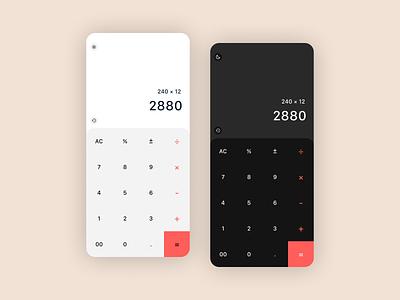 Daily UI 004 - Calculator appui ux ui app app design calc calculator ui calculator dark theme light theme calculator app dailyui 004 dailyuichallenge dailyui