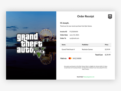 Daily UI 017 - Email Receipt invoice email template gtav gta5 epicgames epic games order email design order confirmation newsletter receipt email email receipt 017 daily ui 017 dailyui 017 ui design dailyuichallenge dailyui