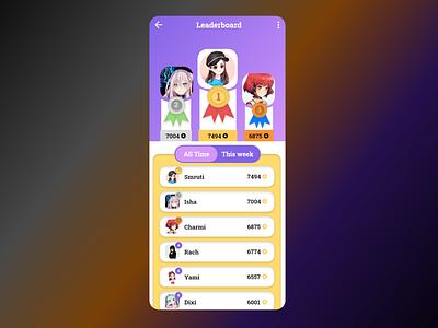 Leaderboard Design dailyui leaderboard app ui design