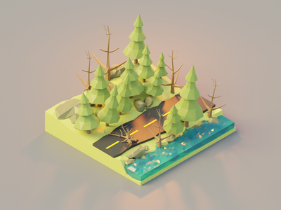 The watery forest road blender3d road watery forest