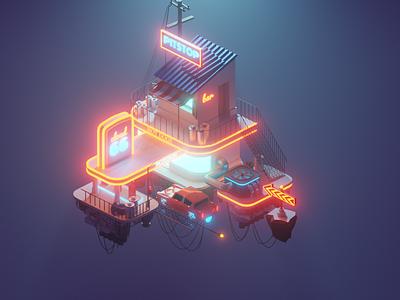 Space Rig space illustration design blender3d