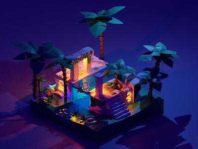 The lost ruins design forest illustration blender3d