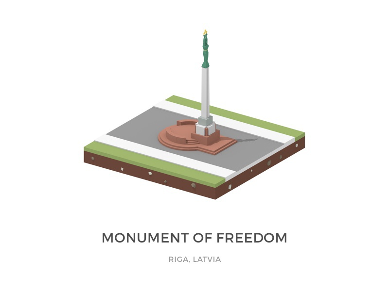 Statue in Riga WIP isometric low-poly blender 3d