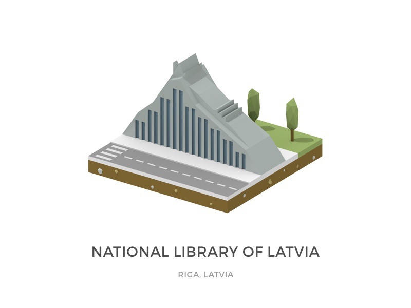 The National Library of Latvia lowpoly icometric blender