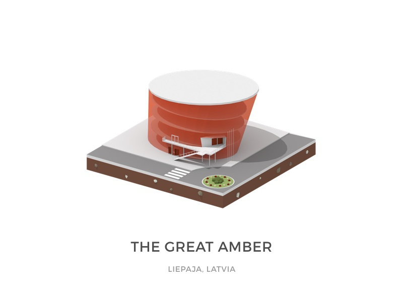 WIP Great Amber - Concert Hall liepaja latvia isometric low-poly blender 3d