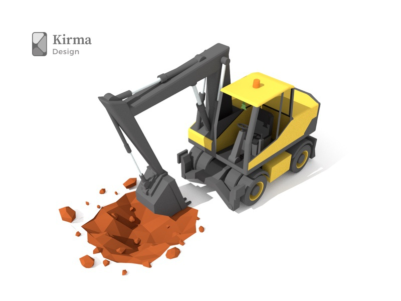 3d Excavator construction excavator render latvia riga modeling model blender isometric lowpoly 3dart 3d