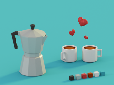 Lovely Coffee lowpoly minimalistic clean blue love cup art 3d isometric blender coffee riga latvia