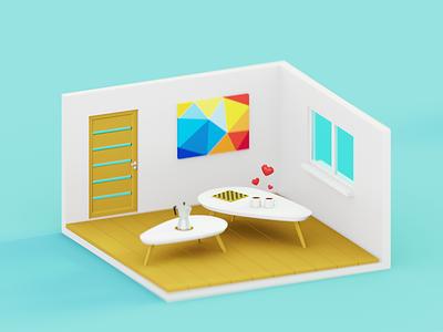 Coffee Room minimal art isometric latvia riga furniture interior blender3d 3d room coffee
