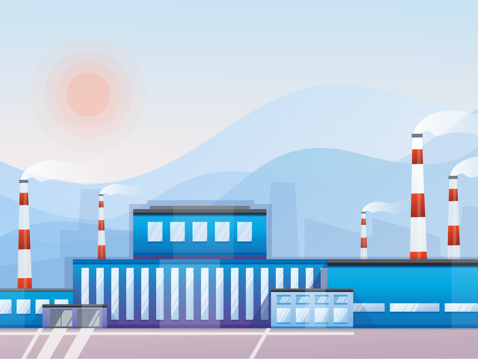 Factory plant works smoggy pipes smog illustration vecor industrialdesign industrial factory