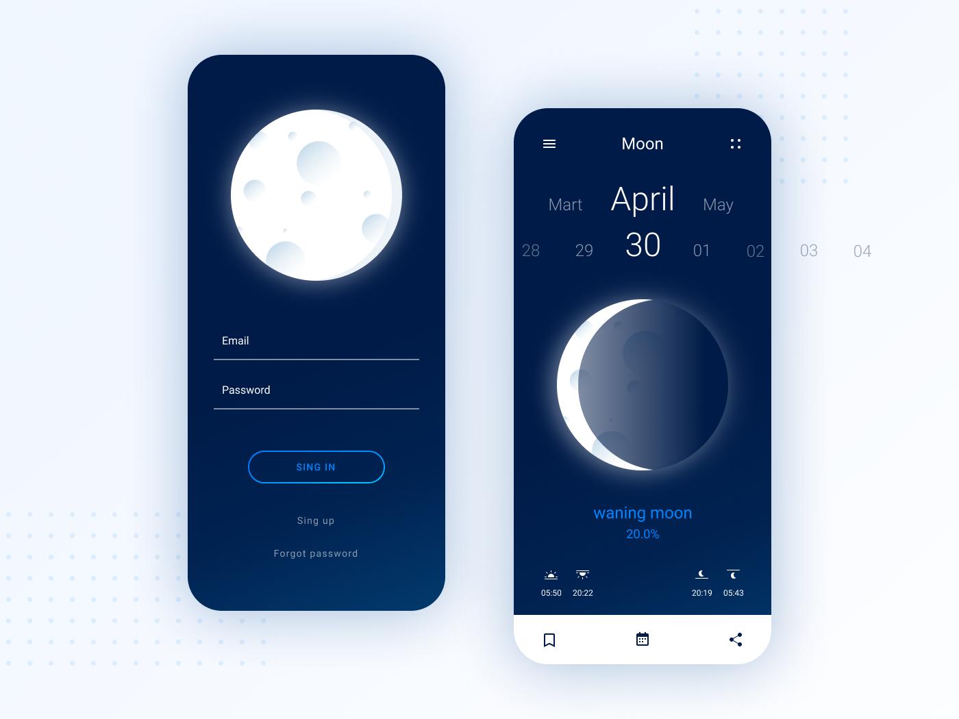 Moon app figma ui web design user experience log in sing in ux web ux  ui dark drawing design app  design app mobile moon