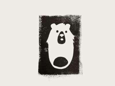 Nice to meet you Bearry :) ink handmade white black bear illustration screen printing