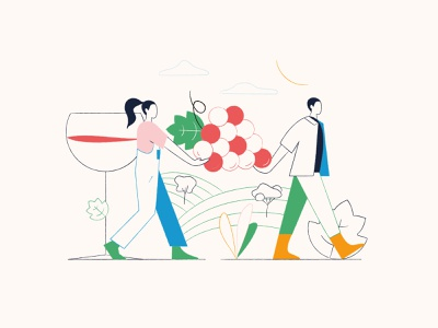 Viticulture 🍇🌿 teamwork geometric colorful carrying grape field glass vineyards natural character minimal winery agriculture flat 2d texture vector wine vineyard illustration