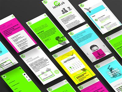 Institut des Futurs Souhaitables exploration future illustration engraving calendar gradient neon ios ui userflow mobile
