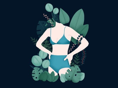 Sick of winter leaves vector texture nature summer naked illustration jungle plants girl
