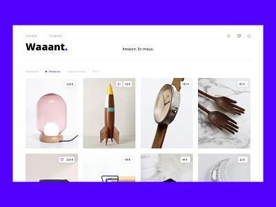 Waaant ! interface minimal bold ux concept product desktop landing page eshop