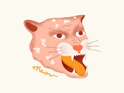 Meow rawr typogaphy travel dailyui type tiger animation pastel meow drawing character texture 2d vector shapes artwork jungle cat illustration jaguar