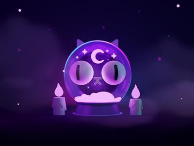 Purrtune Teller candle render halloween spooky magic mystic cat 3dart 3d blender character illustration