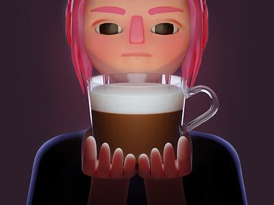 Morning drink 3d art 3d modeling 3d coffee character blender illustration