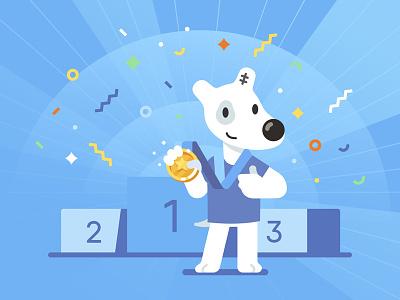 Spotty the Winner podium winner dog spotty vk illustration