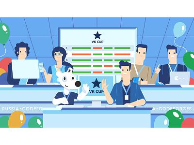 VK CUP/ Russia Codeforces contest coding character flat vkontakte dog spotty vk illustration