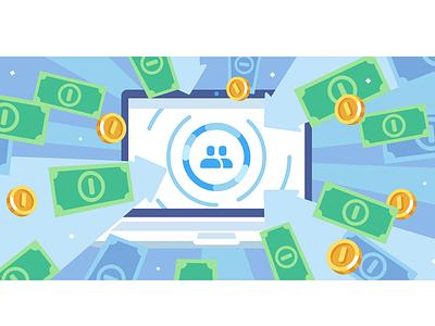 Money Transfers vk.com flat illustration vkontakte vk money