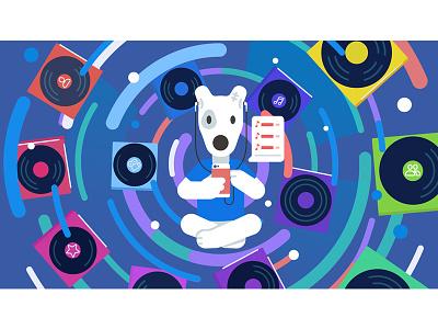 VK Music character spotty flat illustration vkontakte vk music