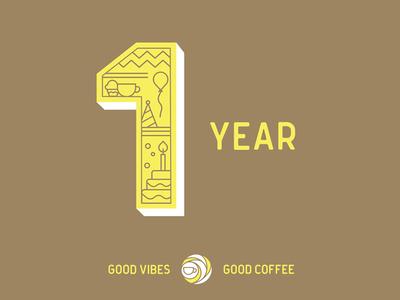 Coffeesphere 1 year celebration year 1 coffee stroke line
