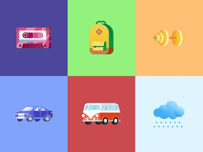 Icons сassette car cloud backpack illustration icon flat